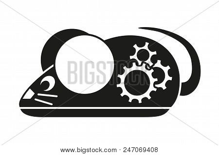 Black and white mechanical mouse silhouette. Simple supply for domestic animal. Cat toy themed vector illustration for icon, sticker, patch, label, badge, certificate or gift card decoration stock photo