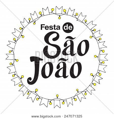 Festa de Sao Joao black label summer holiday calligraphic poster, illustration. Vector firework carnaval background with festival flags. stock photo