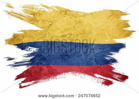 Grunge Colombia flag. Colombian flag with grunge texture. Brush stroke. stock photo