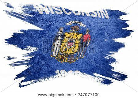 Grunge Wisconsin state flag. Wisconsin flag brush stroke. stock photo