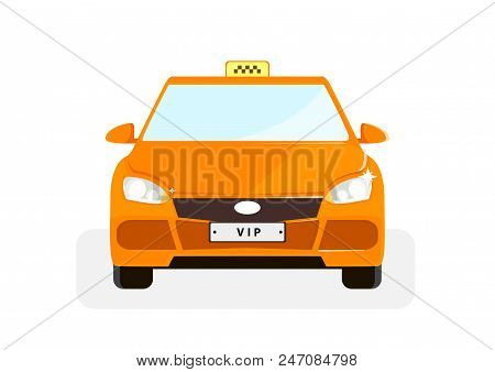Vip taxi illustration with red point in flat style. Vector illustration design. stock photo