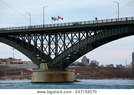 View of the Peace Bridge between Buffalo, United States and Fort Erie, Canada stock photo