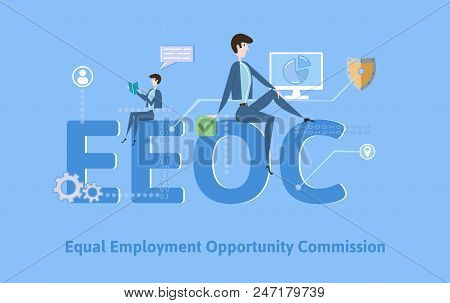 EEOC, Equal Employment Opportunity Commission. Concept with keywords, letters and icons. Colored flat vector illustration on blue background. stock photo