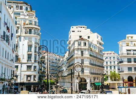 Moorish Revival architecture in Algiers, the capital of Algeria stock photo