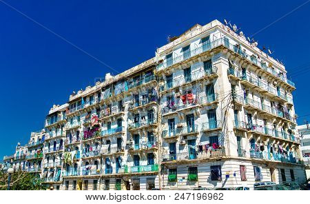 Moorish Revival residential architecture in Algiers, the capital of Algeria stock photo