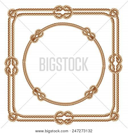 Vector 3d realistic square and round frames, made from fiber ropes. Jute or hemp twisted cords with loops and knots, isolated on white background. Decorative elements with brown packthread. stock photo