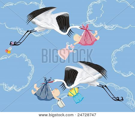 Cranes flying with babies - vector seamless pattern stock photo