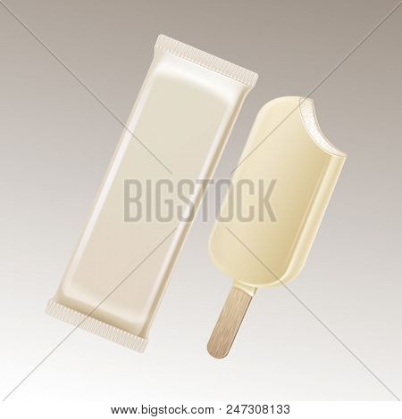 Vector Classic Bitten Popsicle Choc-ice Lollipop Ice Cream in White Chocolate Glaze on Stick with White Plastic Foil Wrapper for Branding Package Design Isolated on Background. stock photo