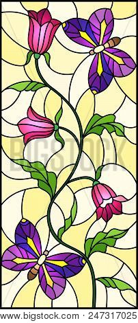 Illustration in stained glass style with abstract curly pink flower and an purple butterfly on yellow background , vertical image stock photo
