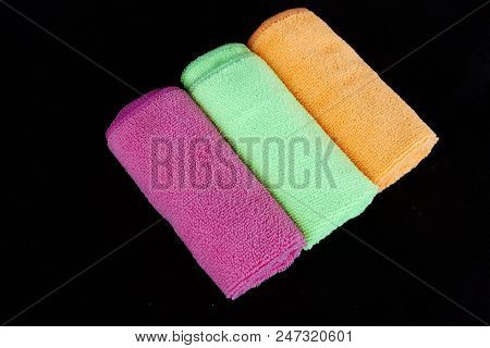 blue, green, orange and pink microfiber cleaning cloths,microfiber cleaning cloths,colored microfiber cleaning cloths, stock photo