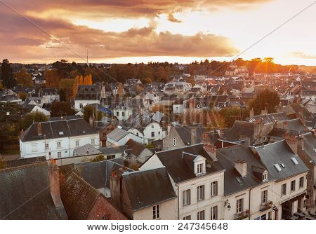 Aerial evening cityscape of Amboise town located in the Indre-et-Loire department of the Loire Valley in France. Traditional old French living houses stock photo