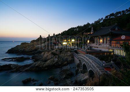 Haedong Yonggungsa Temple during sunrise in Busan, South Korea. Beautiful temple near sea in Busan. stock photo