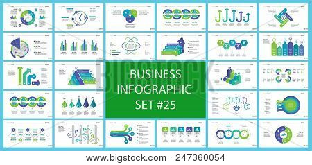 Creative business presentation slide for management concept. Can be used for business project, annual report, web design. Pie chart, process chart, venn chart, bar graph, flowchart, comparison diagram stock photo
