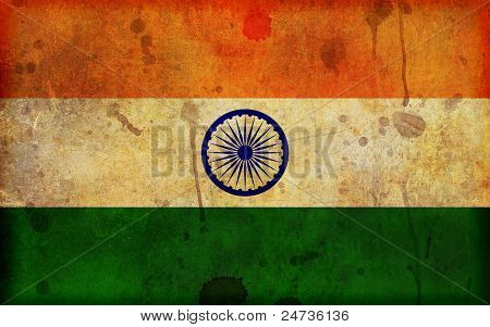 An old dirty and stained grunge style illustration of the flag of the Republic of India - in a widescreen aspect ratio. stock photo