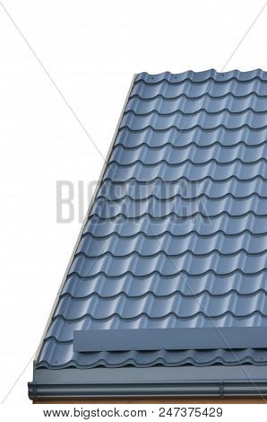 Grey Steel Tile Roof Texture Background, Gray Tiled Roofing, Large Detailed Isolated Vertical Closeup, Modern Residential House Rooftop Tiles Detail Textured Pattern, Copy Space, Property Concept Real Estate Metaphor stock photo