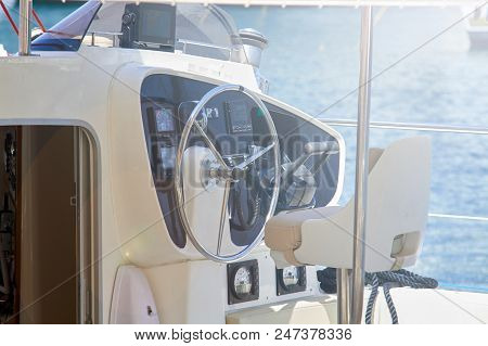 Yatch deck in a shiny day in themiddle of the sea stock photo