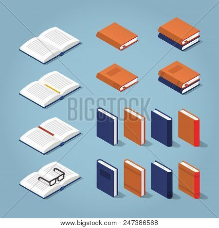 Vector isometric set of books. Collection of differently colored and designed books - standing book, books on the side, books with decorated covers and stacks of books. stock photo