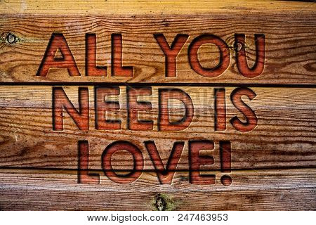 Handwriting text All You Need Is Love Motivational. Concept meaning Deep affection needs appreciation romance Wooden background vintage wood board wild message ideas intentions thoughts stock photo