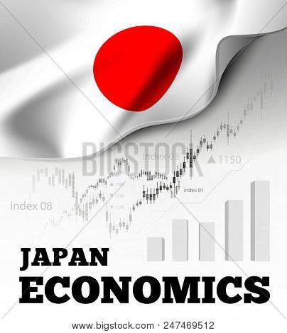 Japan economics vector illustration with japanese flag and business chart, bar chart stock numbers bull market, uptrend line graph symbolizes the welfare growth stock photo