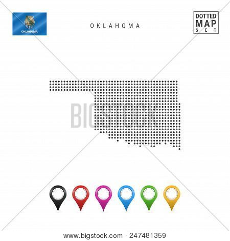 Dots Pattern Vector Map of Oklahoma. Stylized Simple Silhouette of Oklahoma. The Flag of the State of Oklahoma. Set of Multicolored Map Markers. Illustration Isolated on White Background. stock photo