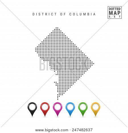 Dots Pattern Vector Map of Washington DC. Stylized Simple Silhouette of Washington DC. The Flag of the State of Washington DC. Multicolored Map Markers Set. Illustration Isolated on White Background. stock photo