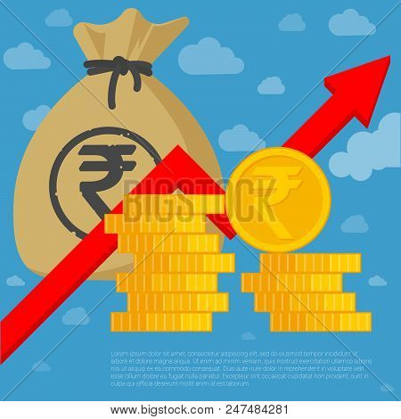 Indian rupee investment and saving financial  growing chart flat design vector template. Coins, money bag and arrow icon mock up. stock photo
