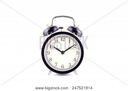 A Time concept  Black Color Classic alarm clock isolated over white background stock photo