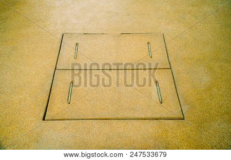 Cover manholes, drainage Surface sand, Manhole concrete cover install outdoor for Drainage system stock photo