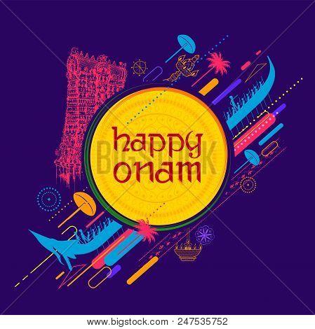 illustration of colorful Kathakali dancer on background for Happy Onam festival of South India Kerala stock photo