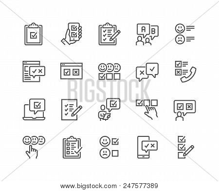 Simple Set Of Survey Related Vector Line Icons. Contains Such Icons As Emotional Opinion, Rating, Ch