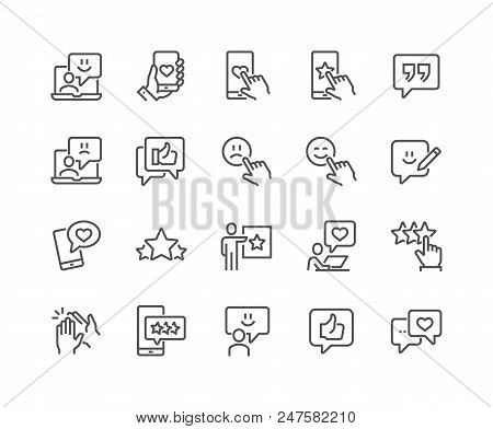 Simple Set Of Feedback Related Vector Line Icons. Contains Such Icons As Star Rating, User Opinion,