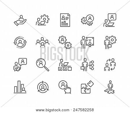 Simple Set Of Business Management Related Vector Line Icons. Contains Such Icons As Inspector, Perso