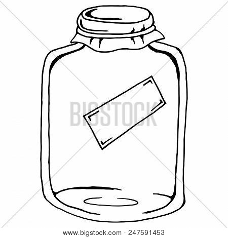 Glass jar. Vector illustration of a glass jar with blank label. Hand drawn  empty jar. stock photo