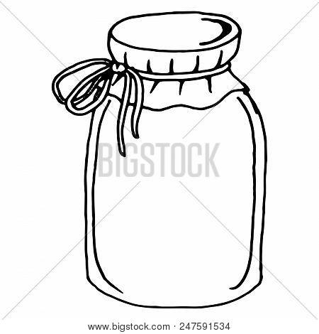 Glass jar. Vector illustration of a glass jar. Hand drawn  empty jar. stock photo