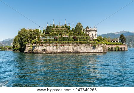Landscape of lake Maggiore and island Bella or Isola Bella, is one of the Borromean Islands in Piedmont of north Italy stock photo