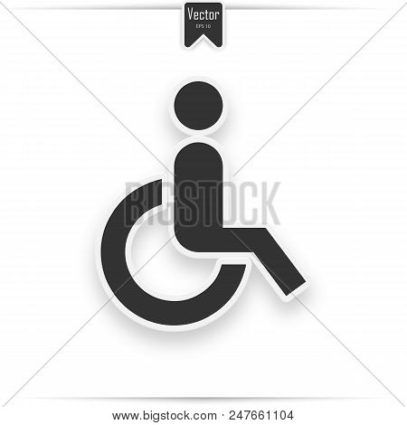 Wheelchair vector icon. Disabled person vector image to be used in web applications, mobile applications and print media stock photo