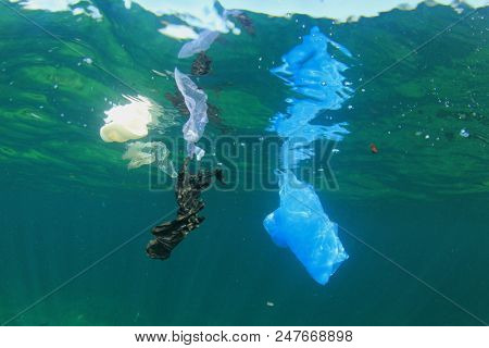 Plastic bags pollution in ocean. Underwater photo of plastic  stock photo