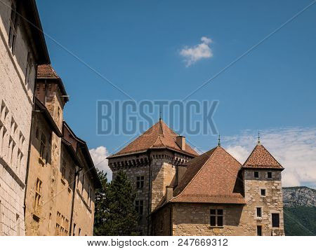 view on nice castle in Annecy, France stock photo