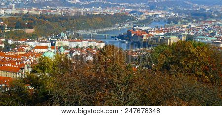Prague view from Petrin Observation Tower, daylight. stock photo