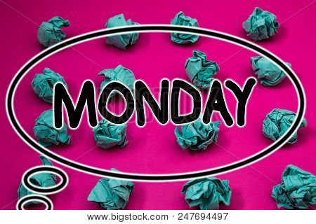 Word writing text Monday. Business concept for First day of the week Back to work Weekend is over Wakeup Early Crumpled paper balls pattern eliptical design animated font background stock photo