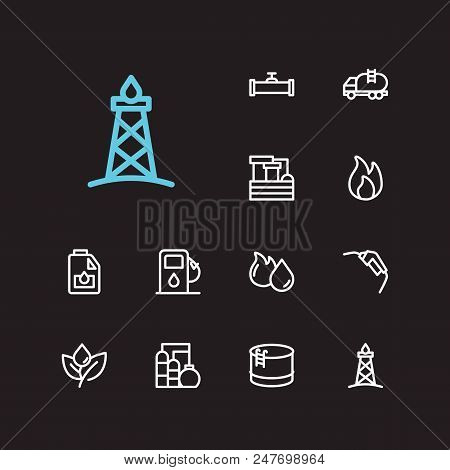 Oil icons set. Oil fossil and with oil water factory, gas plant and engine oil. Set of light for web app logo UI design. stock photo