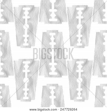 Traditional Double Edge Razor Blade Seamless Pattern Isolated on White Background. Tool for Haircut and Shave. Stainless Steel Sheving Equipment. stock photo