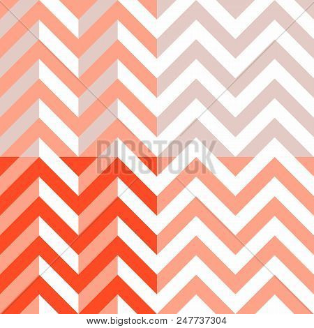 Vector chevron - set of 4 chevrons of orange and red color, zig-zag seamless patterns of a modern palette of bright and pastel tones. stock photo