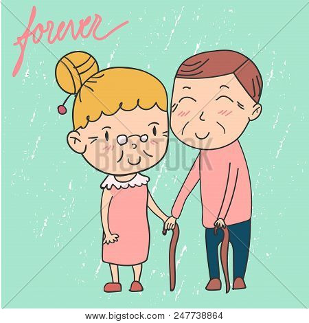 doodle happy elderly couple, grandparent smiling and holding hand stock photo