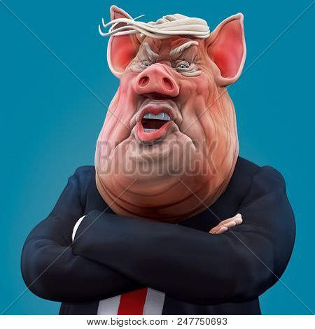 Pig boss talks with arms crossed. 3D rendering stock photo