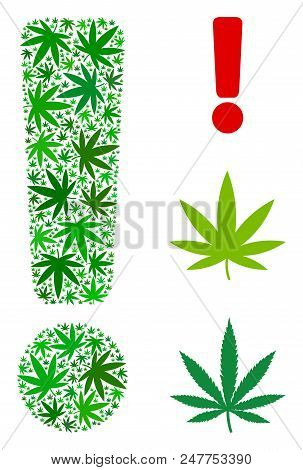 Exclamation sign mosaic of hemp leaves in various sizes and green shades. Vector flat cannabis leaves are organized into exclamation sign mosaic. Herbal vector illustration. stock photo