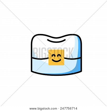 Professional orthodontist thin line icon. Alignment of tooth with braces. Happy tooth with bracket vector character. Teeth correction with brackets. Stomatology teeth implantation and restoration stock photo