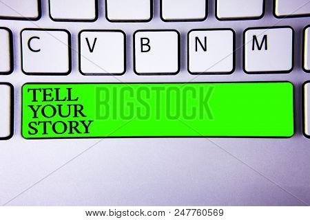 Conceptual hand writing showing Tell Your Story. Business photo showcasing expressing your feelings Narrating writing your biography Spacebar laptop keyboard white computer grey background stock photo