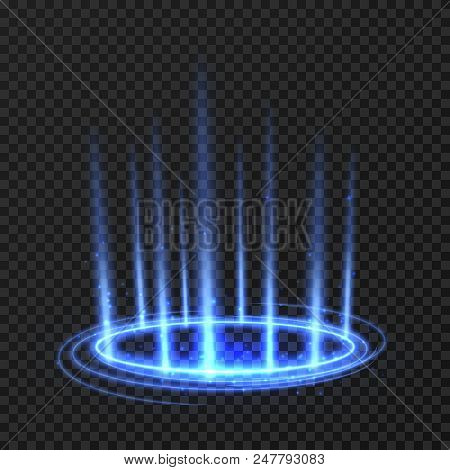 Energy spinning circle with blue glowing rays. Fantasy portal, magic twirled teleport on floor iod vector illustration. Effect energy ray teleport futuristic illustration stock photo