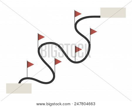 Line path way road curved curve marked with red triangular flags start-finish object isolated on white background vector. stock photo